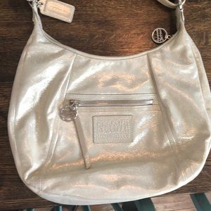 Coach poppy leather shimmery leather hobo